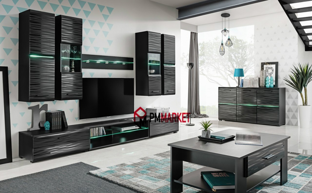 Living Room High Gloss Furniture Full Set Display Wall Unit Modern Tv Cabinet Ebay