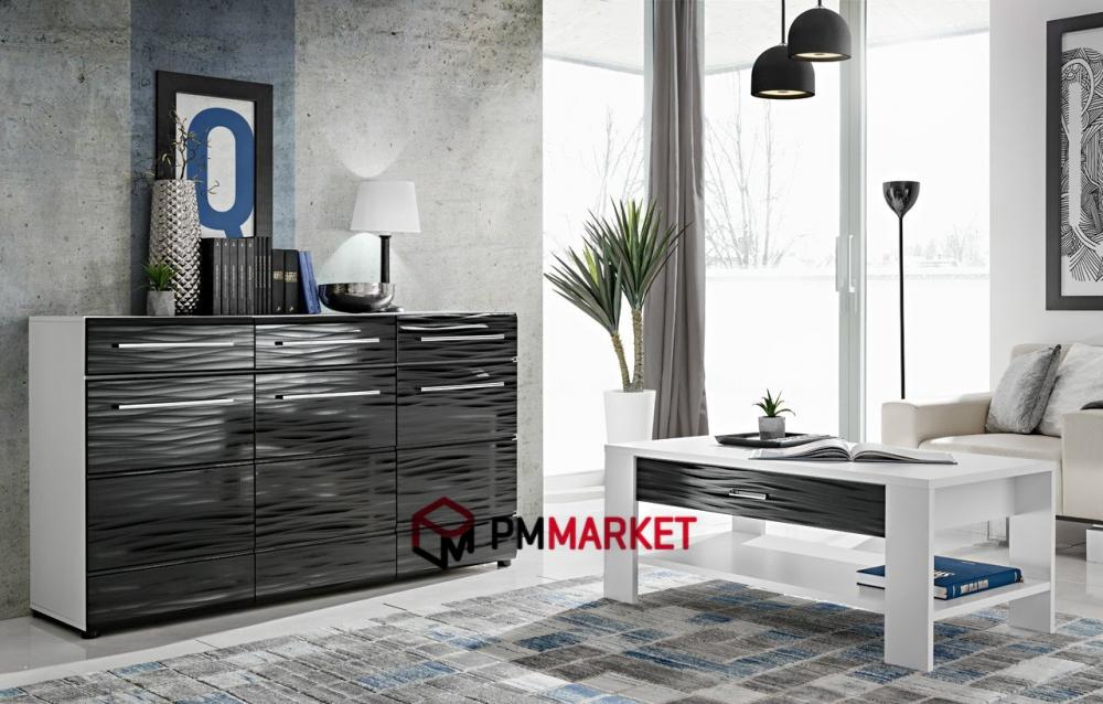 Living room high gloss furniture display wall unit tv unit - High gloss black living room furniture ...