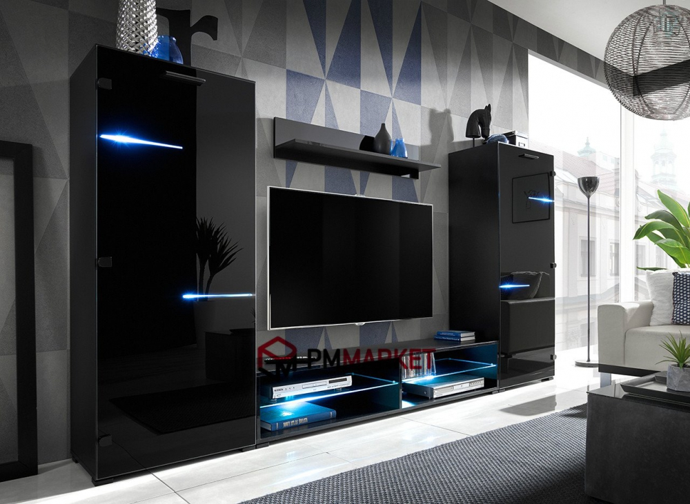 Living Room High Gloss Furniture Set Display Wall Unit