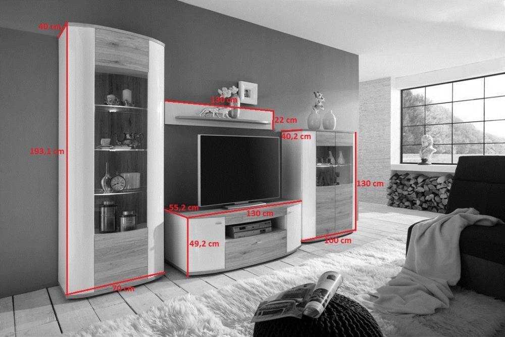 Living Room High Gloss Storage Furniture Tall Unit Modern